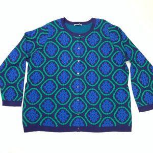 Isaac Mizrahi | Blue Medallion Sweater Size 3X